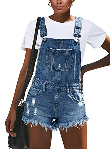 luvamia Women's Ripped Short Overalls Adjustable Stretchy Denim Overall Shorts Romper A-Light Blue Size X-Large