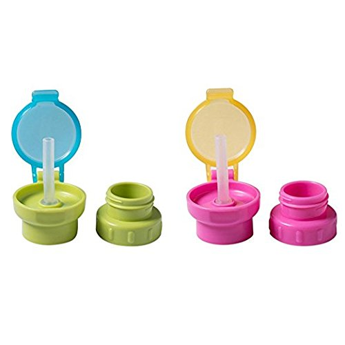 Adapter Spout (KINGSUNG 2 Pcs Baby Feeding Drinking Tube Bottle Cap with Straw for Kids Child Infant Toddler)
