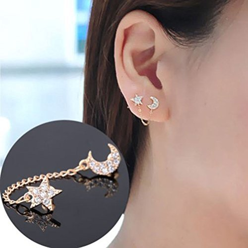 Luxury Women Gold plated Moon & Star Shape Crystal Rhinestone Earrings HFCA ()