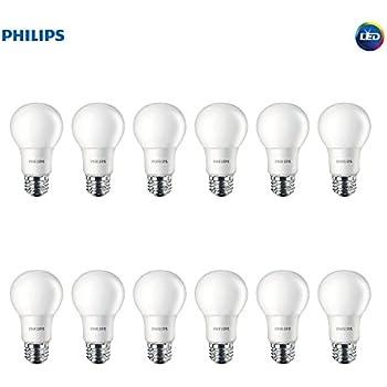 Philips LED Non-Dimmable A19 Frosted Light Bulb: 800-Lumen, 2700-Kelvin, 8.5-Watt (60-Watt Equivalent), E26 Base, Soft White, 12-Pack