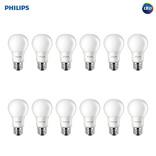 (Philips LED Non-Dimmable A19 Frosted Light Bulb: 800-Lumen, 5000-Kelvin, 8-Watt (60-Watt Equivalent), E26 Base, Daylight, 12-Pack)