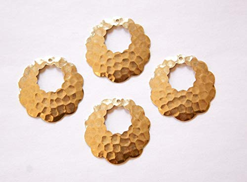 Hammered Pendant Necklace - 1 Hole Raw Brass Scalloped Border Hammered Hoop Pendant - 4pcs