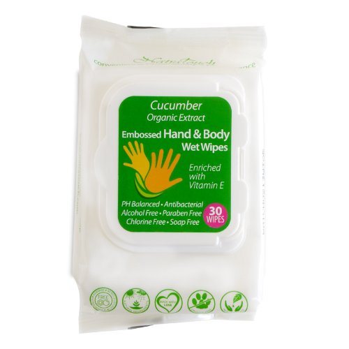 24 PACK ASSORTED ORGANIC CUCUMBER, LEMON, LAVENDER HAND & BODY WIPES WITH ORGANIC ALOE VERA EXTRACT, ALCOHOL, PARABEN FREE by NatraTouch WorryFree (Image #2)