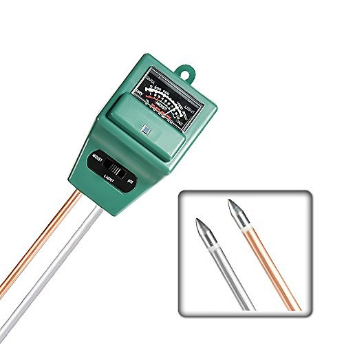 Mudder 3-in-1 Soil Moisture Meter with Plant Light & PH Test Gauge Function, Suitable for Testing pH Acidity, Moisture & Sunligh