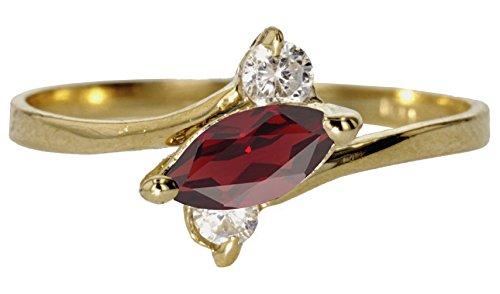 14k Yellow Gold Faceted Natural Genuine Red Garnet Sideways Marquise Simple Vintage Band Ring Size 9 (Garnet Vintage Bands)