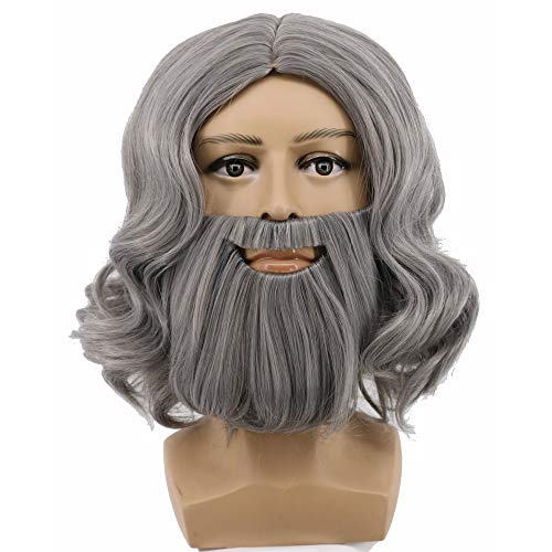 Yuehong Full Gray Wig and Beard Set Halloween Costume Hair Accessory Wigs
