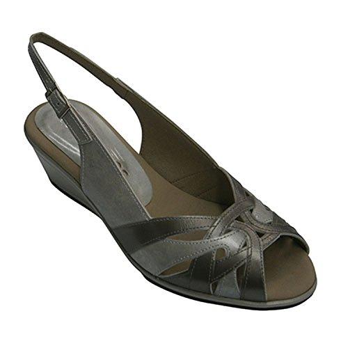 Sandale femme simulant bandes élevés de coin Pitillos en métallique