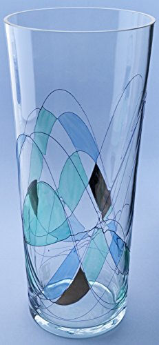 GLASS VASE EMILIA, very elegant of artisanal production, manufactured with blown glass technique and handpainted. 5,91'' x 5,91'' x 13,78'' by ART ESCUDELLERS