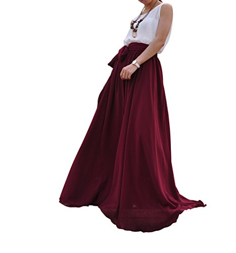 MELANSAY Beatiful Bow Tie Summer Beach Chiffon High Waist Maxi Skirt XXL,Dark Red