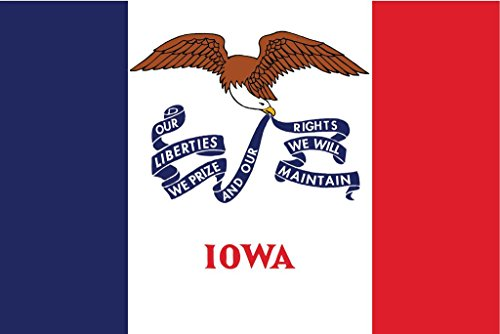 JMM Industries Iowa Flag IA Vinyl Decal Sticker The Hawkeye State Car Window Bumper 2-Pack 5-Inches by 3-Inches Premium Quality UV-Resistant Laminate PDS321 ()