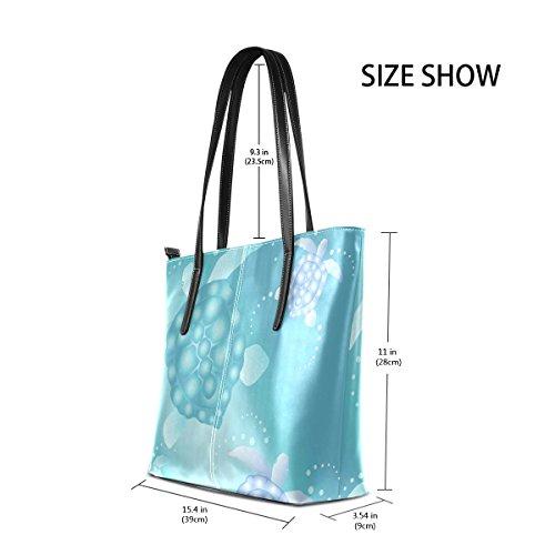 COOSUN Sea Turtles PU Leder Schultertasche Handtasche und Handtaschen Tasche für Frauen