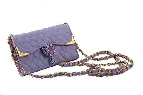 one 4S Luxury Bling Diamond PU Leather Flip Wallet Card Holder Handbag Case Cover For iPhone 4 and iPhone 4S (Purple) ()