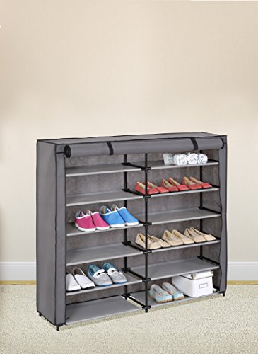 Grey 7-Tier Shoe Rack 42-Pair Portable Shoe Storage Cabinet Organizer with Fabric...