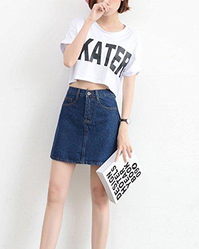 Fonc Mini Haute Couleur Taille En Jupe Unie Jean Ligne Bleu Femme A Slim 7OCEq6ETW