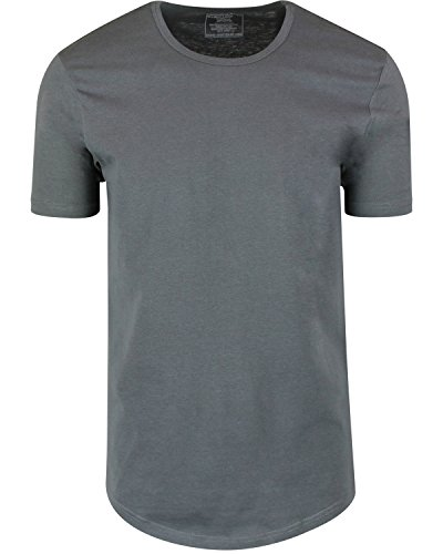 (ShirtBANC Mens Hipster Hip Hop Long Drop Tail T Shirts (Cool Gray, L))