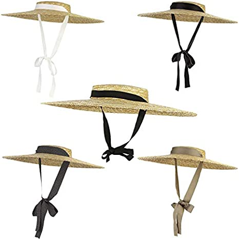 CHIC/&TNK Large Brim Straw Hat Summer Hats for Women Ribbon Beach Cap Boater Flat Top Sun