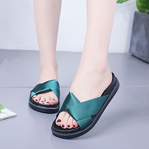 GAOLIM Zapatillas Ranurada Cool Arrastre Y Calzado Plano Plano Con Zapatos De Mujer De Verano Los Zapatos De Ocio Zapatos Salvajes Home Zapatos El verde