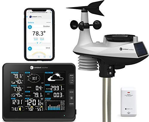 Ambient Weather WS-8478 Falcon Solar Powered 6-in-1 Wi-Fi Professional Weather Station with Internet Monitoring, Compatible with Alexa ()