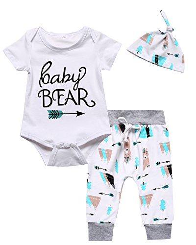 Baby Boys Girls Outfit Set Cute Deer Long Sleeve Romper (0-3 Months) White