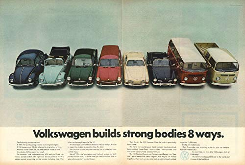 (1968 VOLKSWAGEN FULL-LINE: BEETLE SEDAN & CONVERTIBLE, SQUAREBACK & FASTBACK, KARMANN-GHIA COUPE & CONVERTIBLE, STATION WAGON, CAMPER & TRUCK * Volkswagen builds strong bodies 8 ways. * HUGE VINTAGE COLOR AD DOUBLE PAGE - USA - GORGEOUS ORIGINAL !!)
