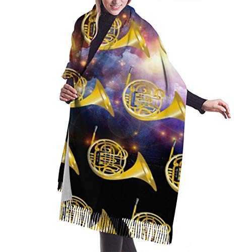 Golden French Horn Winter Women Cashmere Shawl Wraps Scarf