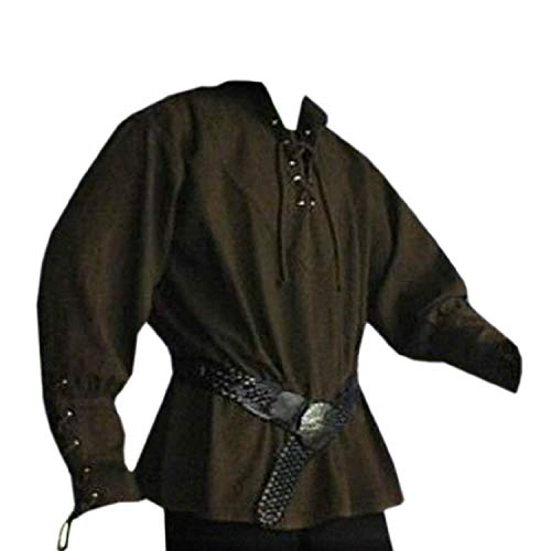(Mens Medieval Pirate Viking Renaissance Shirt Costume Lace Up Kilt Mercenary Scottish T Shirts Jacobite Ghillie Tops (XX-Large, 01 Army Green))