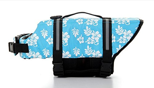 Dog Saver Life Jacket Reflective Pet Preserver Multi-Size Aquatic Safety Vest Suitable for Summer Beach(Blue Flower,X-Small)