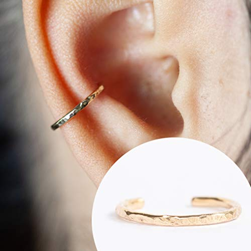 (16 Gauge Ear Cuff - For Pierced or Non Pierced - Ear Conch Piercing Hammered Design 14K Gold Filled 16g 10MM)