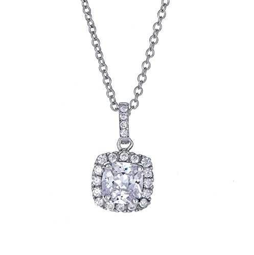 Sterling Silver Pendant Necklace with Solitaire Square CZ Stone Halo Pave Charm, Rhodium Plated 925 Silver, Adjustable Chain Length 16