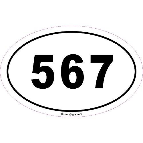 Custom Signs 567 Area Code Bumper Sticker for Car