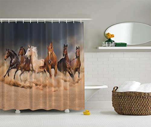 Ambesonne Horse Shower Curtain, Equine Themed Animals Galloping in The Sand Running Horses Pattern, Cloth Fabric Bathroom Decor Set with Hooks, 70