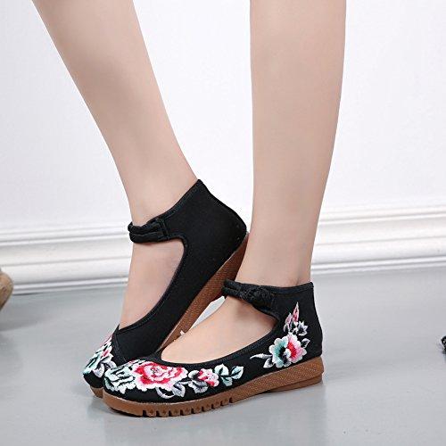 ICEGREY Femme Mary Janes Fait Main Broderie Fleur Ballerine Chaussures Plat Chaussures Bateau Noir 39