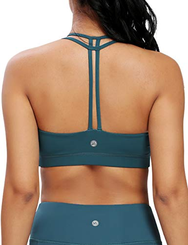 QUEENIEKE Women's Light Support Double-T Back Wirefree Pad Yoga Sports Bra 16018