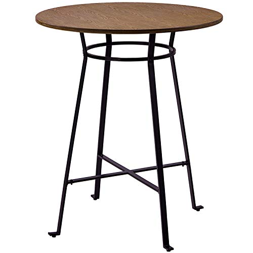 """Harper&Bright Designs 42"""" Height Round Bar Table Retro Dining Room Metal Frame Table,Light Brown"""