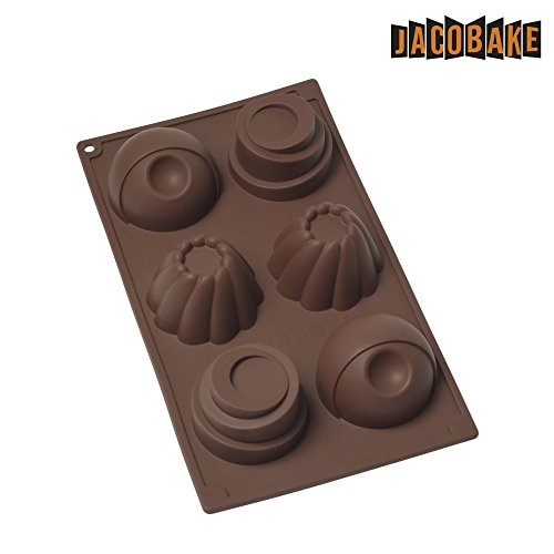 Jacobake 6-Cavity Silicone Mold for Mousse Cake Chocolate Dessert, Soap Making - Nonstick & Easy Release - BPA free Food Grade Silicone ()