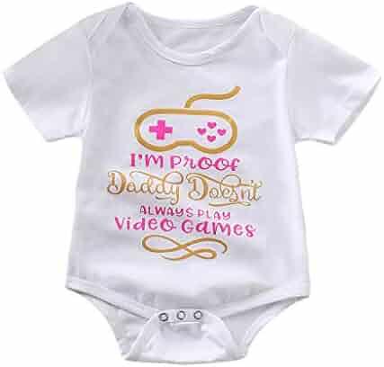 05ea892f49 I'm Proof Daddy Always Play Video Games Funny Baby Girls Boys Romper  Bodysuit Newborn