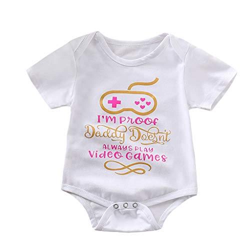 (Emimarol Infant Baby Girl Boy Romper, Short Sleeve Letter Print Bodysuit, Fashion Basic for Newborn Toddler Kid White)