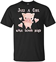 TSHIRTAMAZING Just a Girl who Loves Pigs Funny Animal Farm Gift T-Shirt