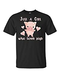 TSHIRTAMAZING Just a Girl who Loves Pigs Funny Animal Farm Gift T-Shirt