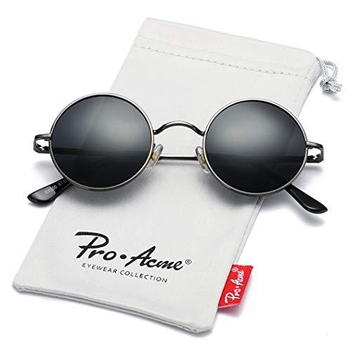 Pro Acme Retro Small Round Polarized Sunglasses for Men Women John Lennon Style (Gunmetal Frame/Black Lens)