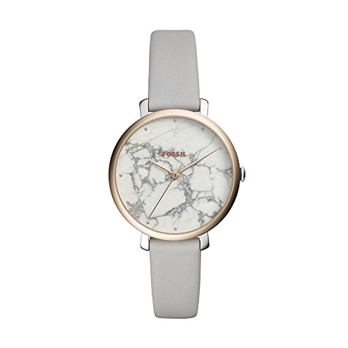 (Fossil Women's Jacqueline Stainless Steel Analog-Quartz Watch with Leather Calfskin Strap, Grey, 14 (Model: ES4377)