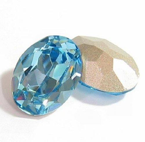 2 pcs Swarovski Crystal 4120 Oval Cabochon Stone Bead Aquamarine Foiled 18mm x 13mm / Findings / Crystallized Element