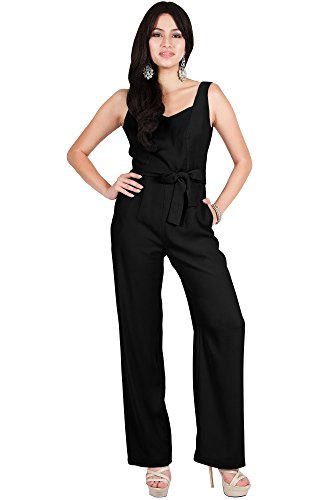 Viris Zamara Womens Long Sleeveless V-Neck Slimming Pockets Tank Top Belt Spring Summer Casual Party Outfit Dressy Romper Pant Suit Suits Playsuit Jumpsuit Jumpsuits, Black L 12-14 by Viris Zamara