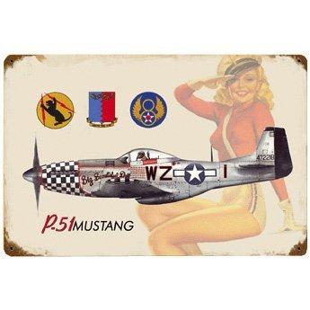 P-51 Salute Vintage Metal Sign - 18W x 12H in