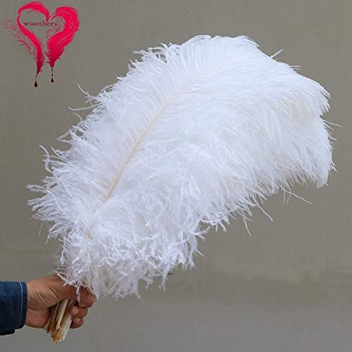 Maslin 20 PCS/Lot Size 70-75 cm Bleached Long Large White Natural Curly Ostrich Plumage Feather Wedding Carnival Room Hotel Decoration - (Color: White, Size: 70-75 cm)