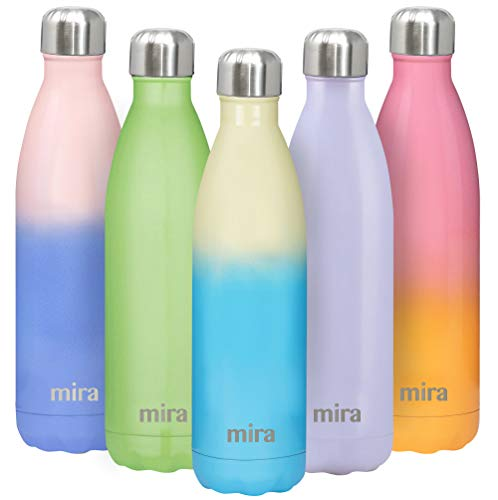 MIRA 25 Oz Stainless Steel Vacuum Insulated Water Bottle - Double Walled Cola Shape Thermos - 24 Hours Cold, 12 Hours Hot - Reusable Metal Water Bottle - Leak-Proof Sports Flask - Coastline