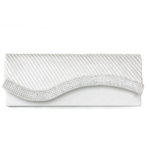Clutch White Satin - Damara Womens Pleated Satin Flap Crystal Clutch Evening Bag, White