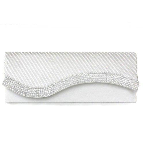 (Damara Womens Pleated Satin Flap Crystal Clutch Evening Bag, White)