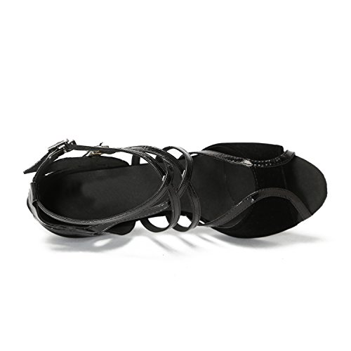 Strap Heel Salsa Sandals Tango Peep Ballroom Toe Minitoo Heel Womens Latin High Dance 6cm Suede Monk QJ6132 Black 0qw7XA