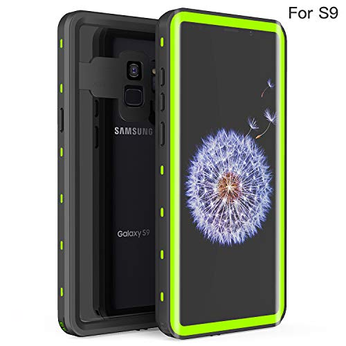 Waterproof Case for Samsung Galaxy S9, Fansteck IP68 Waterproof/Snowproof/Shockproof/Dirtproof, Full-Body Protective Case with Built-in Screen Protector for Samsung Galaxy S9 (5.8 inch-Black/Green)